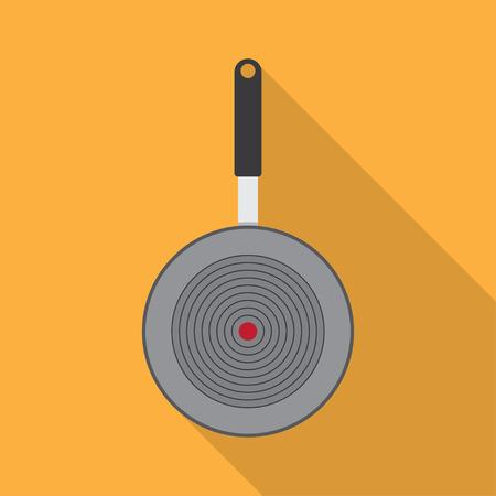 browning: Cartoon pan cooking steel home kitchen equipment pot vector illustration. Cooking pan cartoon and food preparing handle metal pan cartoon. Kitchenware pan cartoon restaurant preparing food.