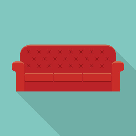 red sofa: Red leather luxury sofa for modern living room reception or lounge  single object realistic design vector illustration