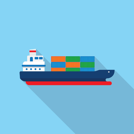 shipbuilder: Cargo ship with containers icon, vector illustration