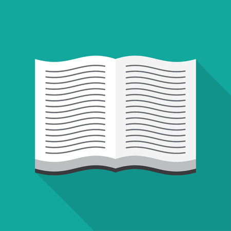 magazine stack: Open book icon in flat design style, vector illustration