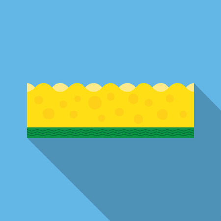 scouring: scouring pads spong for housework cleaning and scouring pad domestic spong work tools. Kitchenware scouring pads flat icon cartoon spong vector illustration, sponge for ware washing. Illustration