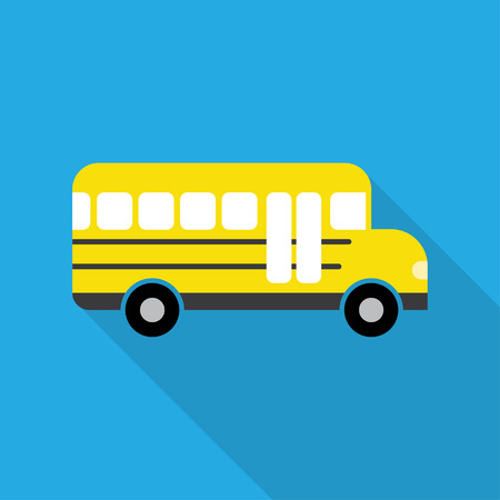 yellow schoolbus: School Bus, modern flat icon with long shadow