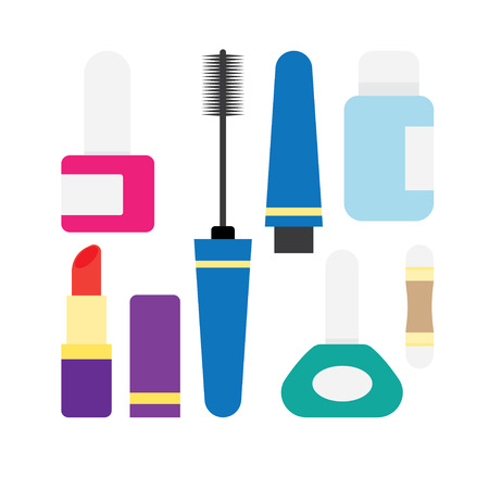 moisturizer: Vector set of Make Up and Beauty Symbols Icon Set in Flat style illustration Illustration