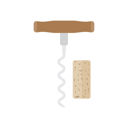 uncork: Corkscrew with cork isolated on white, vector illustration