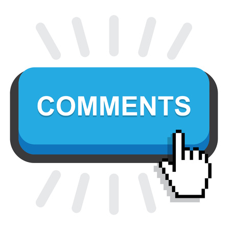 blue rounded comment button on white background Ilustração