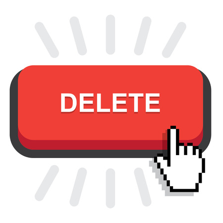 delete button: red rounded delete button on white background