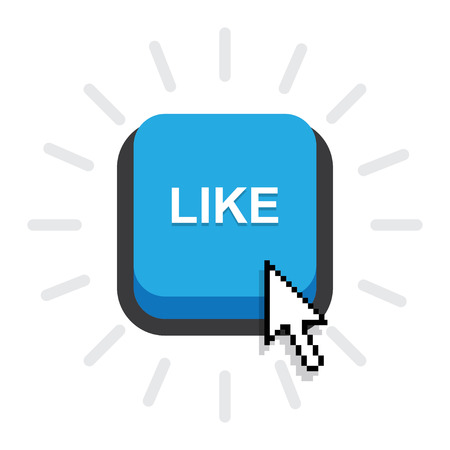 tweeter: Blue Button Like,Like Icon Vector on white background Illustration