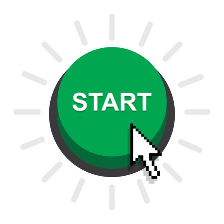 vector button: vector illustration of start button on white background