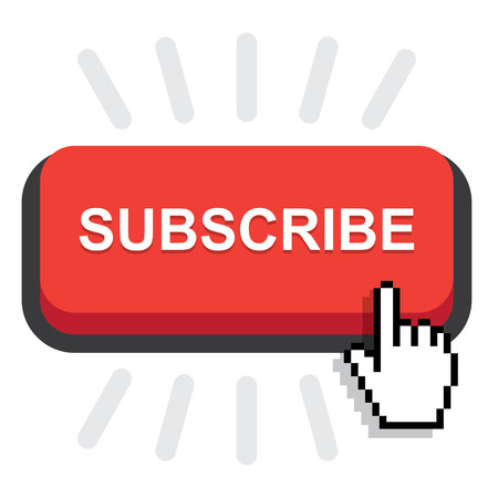 Red rounded subscribe button on white background Illustration