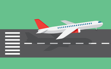 landing: airplane taking off or landing from the runway Illustration