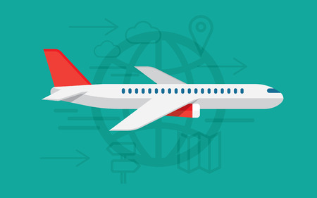 commercial airline: airplane travelling, commercial airplane flight journey, tourist vacation trip on airline transportation. Modern vector illustration concept