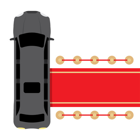 parked: Posh black limousine top view parked near red carpet vector illustration Illustration