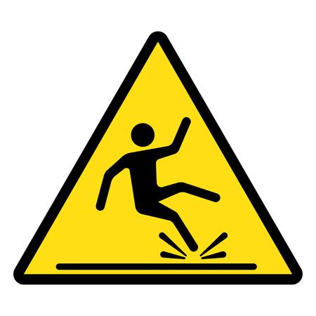 hombre cayendo: Muestra mojada del suelo, triángulo amarillo con la caída del hombre en estilo moderno redondeada. ilustración del vector. Vectores