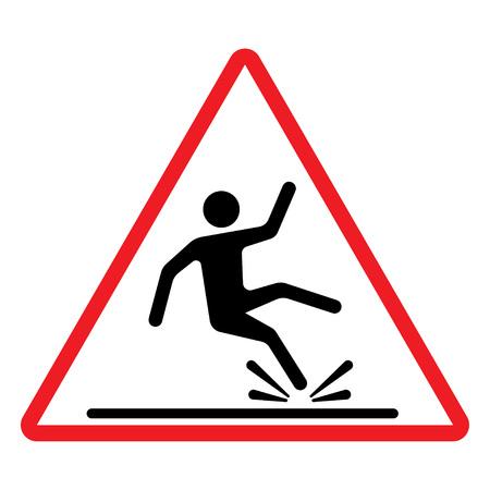 hombre cayendo: piso mojado signo, señal de peligro con la caída del hombre en estilo moderno redondeada. ilustración del vector.