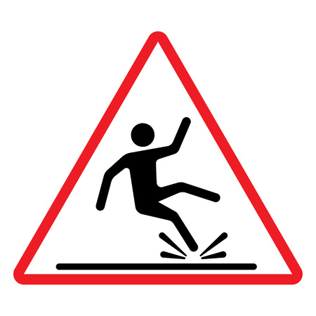 Wet Floor sign, warning sign with falling man in modern rounded style. Isolated vector illustration. Illustration