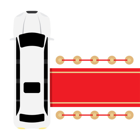 parked: Posh white limousine top view parked near red carpet vector illustration
