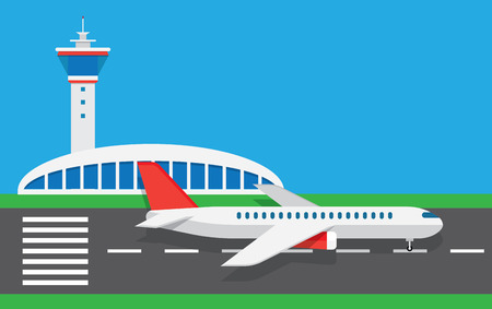 aerodrome: Airport with infographic elements templates. Vector flat illustration Illustration