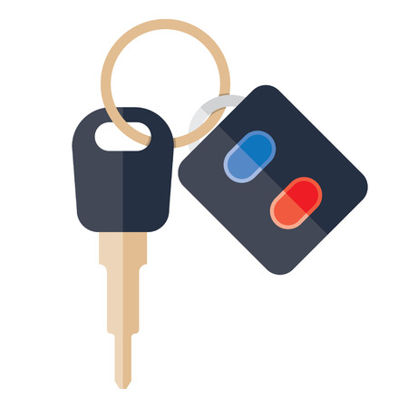 keyholder: Car Key and of the alarm system. Vector Illustration