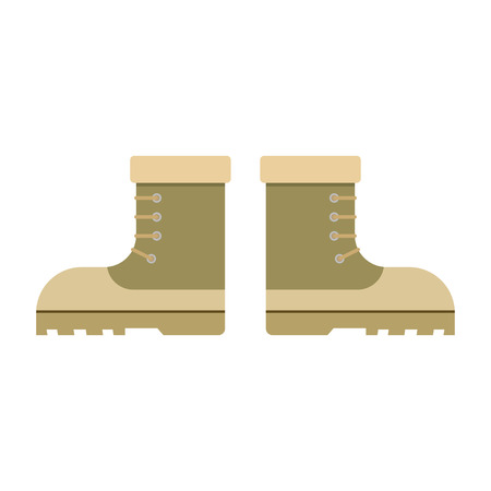 uniform green shoe: combat military boots leather combat soldier footwear vector illustration. Leather military boots and army uniform military boots. Soldier footwear military boots clothing uniform. Illustration