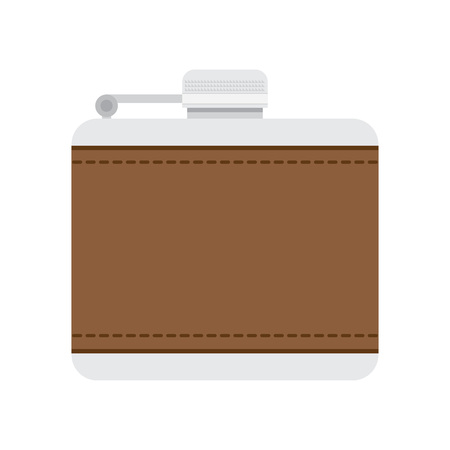 hip flask: flask for alcohol vector illustration. Flat icon isolated on a white background