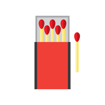 matchbox: matchbox and matches vector illustration. Flat icon isolated on a white background