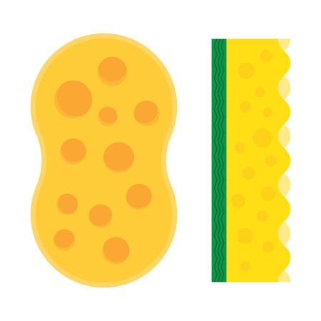 kitchen shower: Bath sponge. Kitchenware scouring pads flat icon cartoon spong vector illustration, sponge for ware washing. Illustration