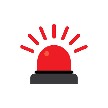scatter: Police or ambulance red flasher siren logo. Flat style with line scatter rays.