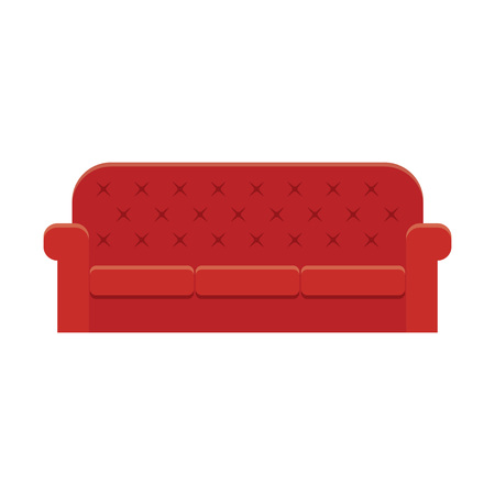 apartment suite: Red leather luxury sofa for modern living room reception or lounge  single object realistic design vector illustration