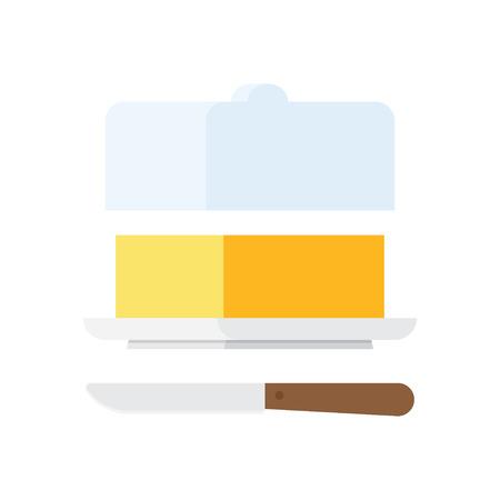 butter knife: Butter stick with knife. Sliced Margarine block. Baking ingredient butter or margarine stick. Butter vector illustration. Food for breakfast. Illustration