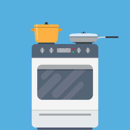 cooktop: Electric oven and saucepans. Kitchen appliances, kitchen interior, utensils concepts. Front view. Modern flat design vector illustration isolated on blue background