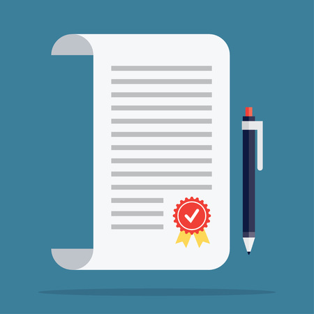 signing papers: Contract icon in a flat style. Contract vector icons. Contract isolated on a colored background. Contract concept icons. Design icons of the signed contract. Conclusion of a contract.