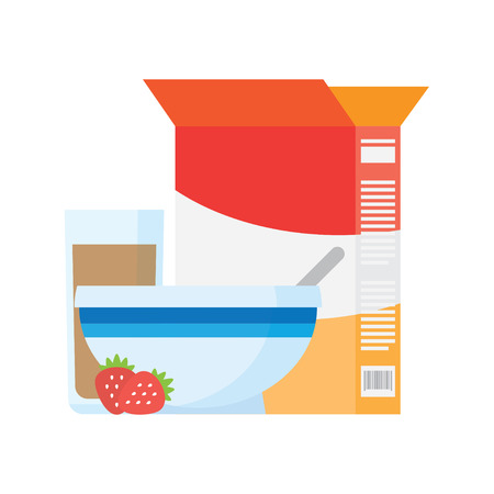corn flakes: Breakfast icons flat set with cocoa corn flakes isolated vector illustration