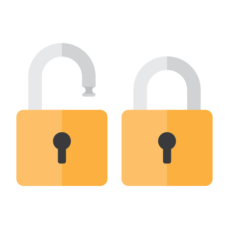 security symbol: Lock icon. Lock icon in flat style. Lock open. Lock closed. Concept password, blocking, security. Lock symbol. Lock vector icon. lock icon isolated.