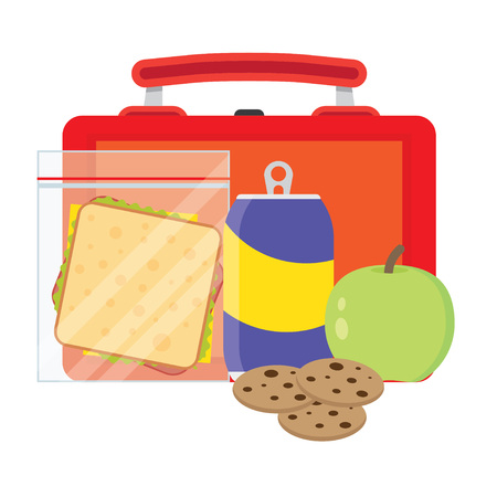 lunch break: Lunch vector illustration. Lunch break concept. Lunch time design. Lunch box, sandwich, soda and an apple. Lunch icon in flat style. Lunch school. Lunch kids image.