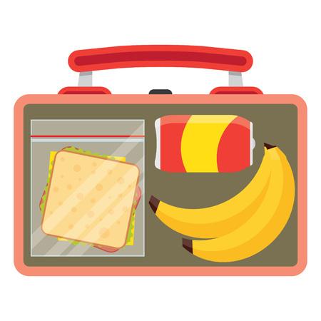 ランチのベクトル図です。ランチ休憩のコンセプトです。ランチ時間のデザイン。弁当、サンドイッチ、ソーダや、バナナ。フラット スタイルのラ
