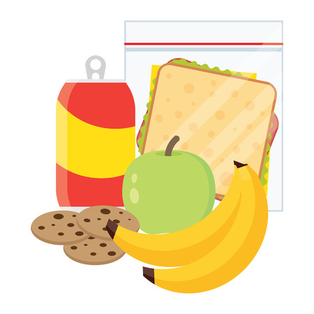open sandwich: Lunch vector illustration. Lunch break concept. Lunch time design. sandwich, soda and an apple. Lunch icon in flat style. Lunch school. Lunch kids image. Illustration