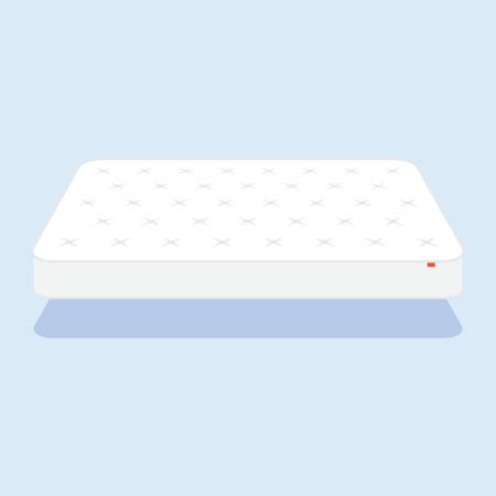 guest house: Double white mattress in flat style vector illustration