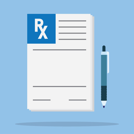 Prescription pad. Medical prescription vector illustration. Prescription icon. Prescription with pen. Prescription paper in flat style. Rx prescription form.