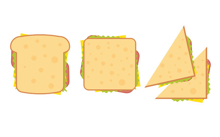 deli sandwich: Set of three delicious sandwich illustrations rectangle, triangle and wrap.