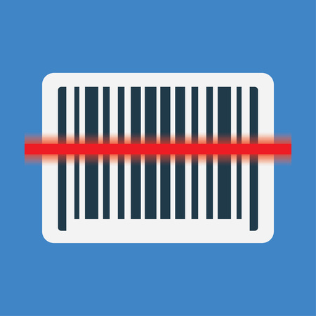 barcode scanning: Barcode scanning icon with red laser line