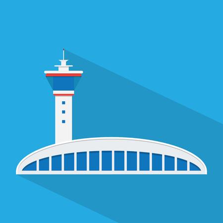 Luchthaven. Verkeerstoren en terminalgebouw, blauwe schaduw en platte thema