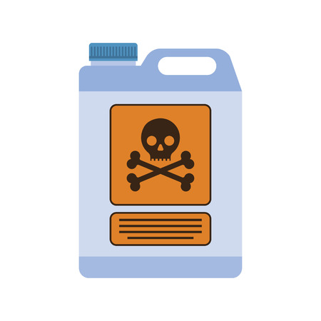 Industriechemikalienbehälter mit dem Zeichen des lebensbedrohlich. flaches Design, Illustration, Vektor. Vektorgrafik