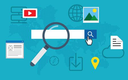 blog icon: Flat loupe icon SEO, Search engine optimization. Data finding. Content analyzing.