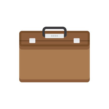 briefcase icon: Briefcase vector illustration. Briefcase business. Briefcase in flat style. Briefcase icon. Briefcase isolated. Briefcase with lock. Briefcase male brown.