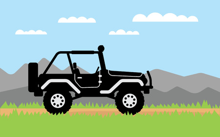 4wd: SUV rides on off-road trail, background of mountains. Active outdoor recreation with family. car. Vehicle SUV. Beautiful landscape. vector car. flat design 4WD car illustration
