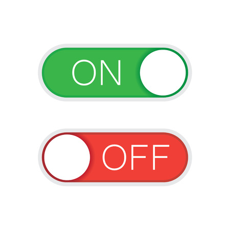 toggle switch: Universal toggle switch vector icon, On and Off position simple icons.Green and red switch. Modern minimal flat design style.