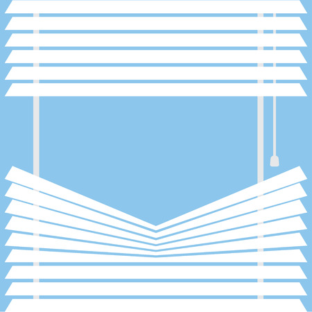 blinds: parted blinds on a blue background, vector illustration