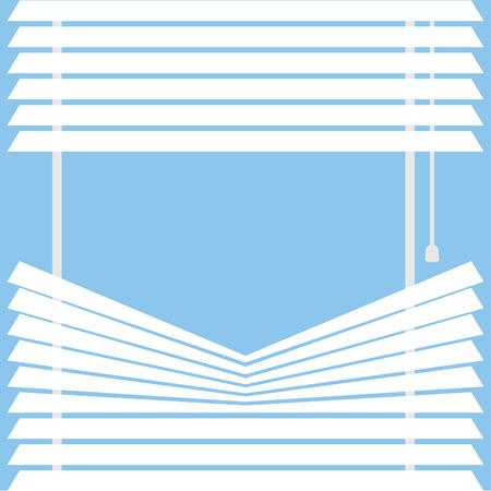 parted blinds on a blue background, vector illustration