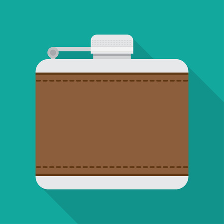 hip flask: flask for alcohol vector illustration. Flat icon isolated with long shadow. Illustration