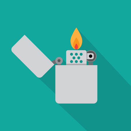 open flame: Lighter icon vector illustration. Flat icon isolated with long shadow.